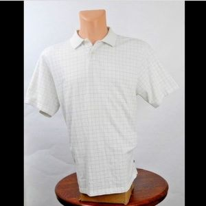 Geoffrey Beene White Short Sleeve Polo Shirt Sz L